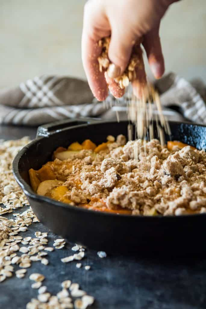 Pear Persimmon Skillet Crumble sprinkling crumble