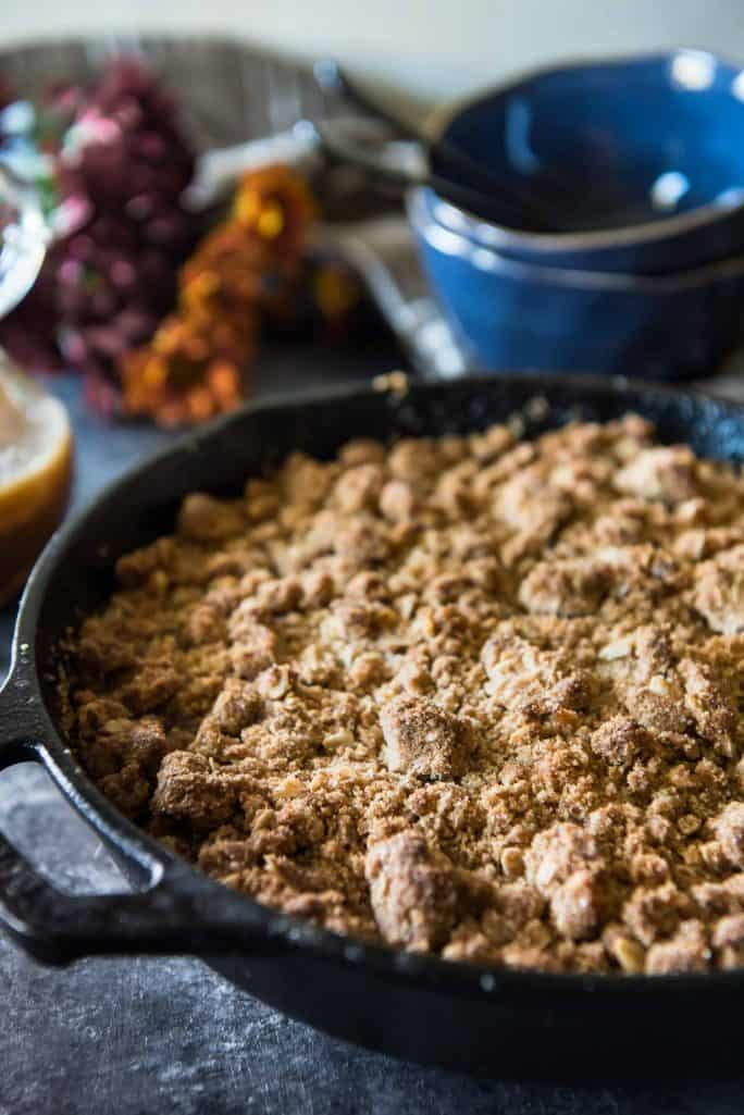 Pear Persimmon Skillet Crumble baked
