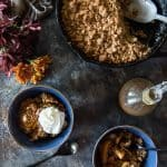 Pear Persimmon Skillet Crumble flatlay