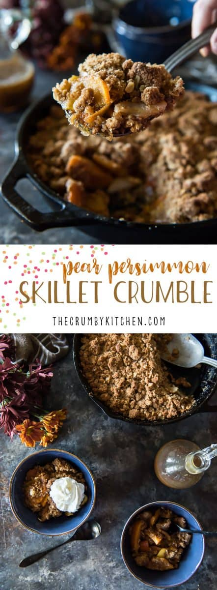 Put your cast iron to work this fall and whip up thisPear Persimmon Skillet Crumble! Sweet, ripe persimmons and mild pears are baked with a crunchy oat crumble, then served with out-of-this-world rum sauce!