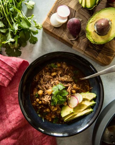 Posole Rojo: The Best Pork and Hominy Stew flatlay