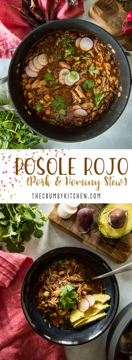 Stay warm this winter with a big bowl of Posole Rojo! This traditional hearty chile, pork, and hominy stew takes some time on the stovetop, but the deliciously spicy results are totally worth the wait!