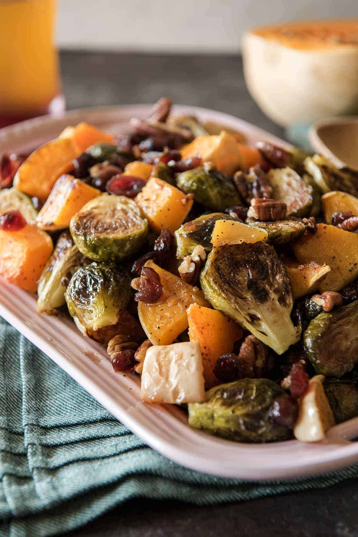 Roasted Brussels Sprouts & Squash With Cranberry Cider Glaze #SundaySupper