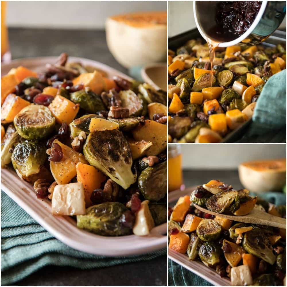 Roasted Brussels Sprouts & Squash With Cranberry Cider Glaze