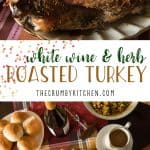 The juiciest holiday bird you'll ever eat! ThisWhite Wine and Herb Roasted Turkey is stuffed with fresh root veggies, bathed in white wine, and rubbed with a cocktail of herbs that is guaranteed to delight everyone at the table!