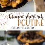 This beyond delicious Braised Short Rib Poutine is a meaty riff on a Québécois standard that's ready in an hour! Steak-cut French fries are piled with shredded (Instant Pot) beef short ribs & gravy, then topped with melted cheddar cheese curds.
