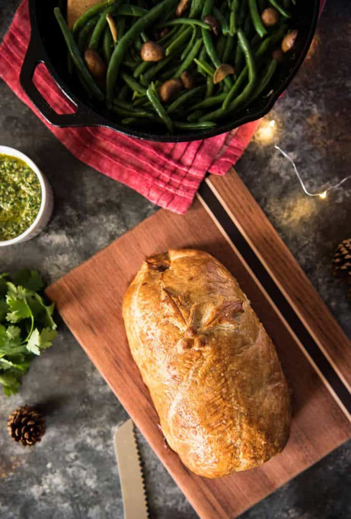 Chorizo Beef Wellington with Cilantro Pesto whole