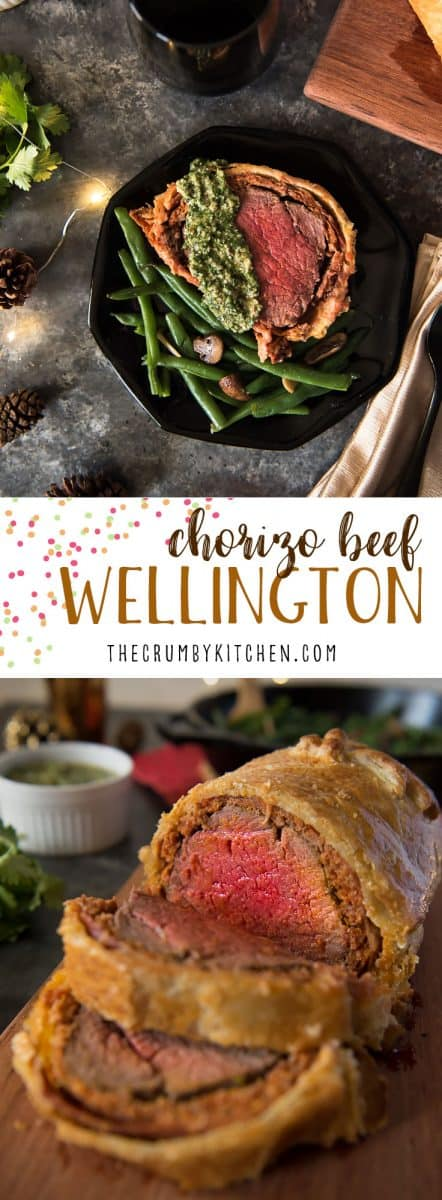 A Spanish twist on a British classic! This Chorizo Beef Wellington combines beef tenderloin, fresh chorizo, and prosciutto in a buttery pastry crust for a fancy entree that will delight everyone at the table. Serve it with a cilantro pesto to really bring out the big flavors!