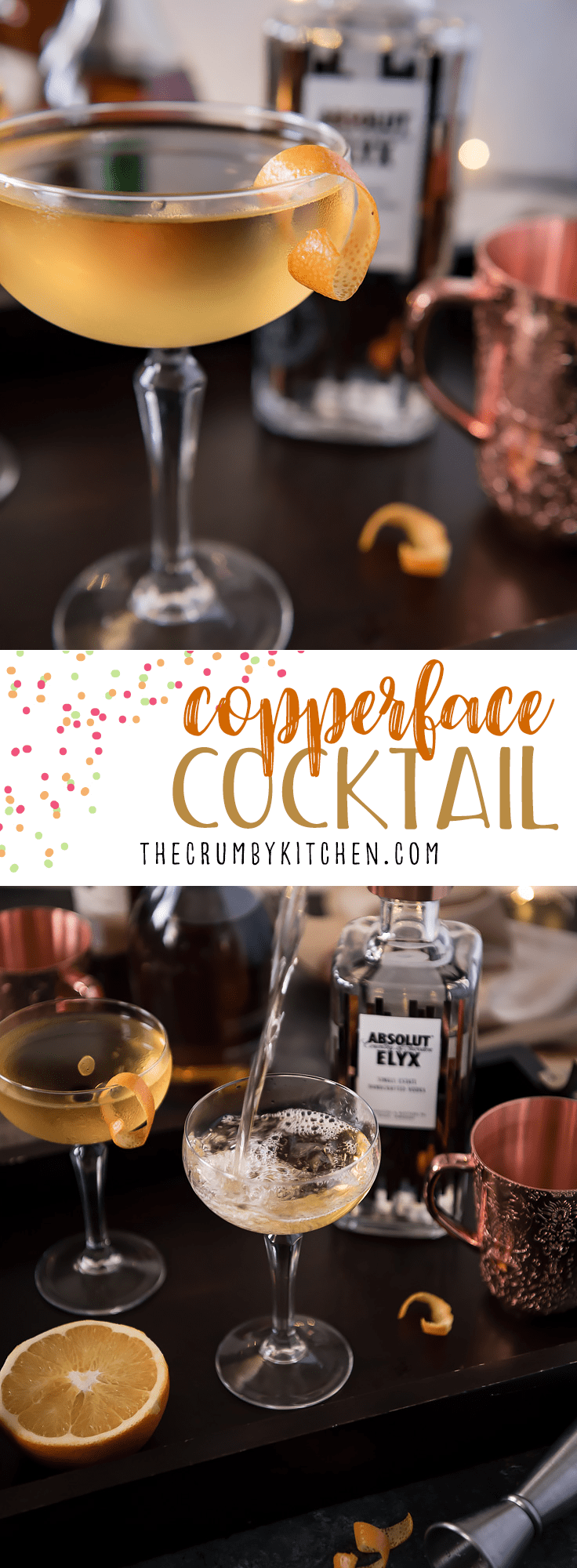 Simple in preparation but complex in flavor, the Copperface Cocktail combines Absolut Elyx with Calvados and apricot brandy for a sipper that is sure to keep everyone warm this winter!