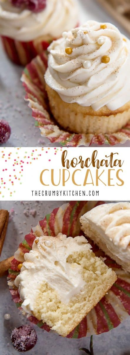 These fluffy Horchata Cupcakes, flecked with vanilla bean, are filled and topped with a boozy whiskey buttercream that's sure to please all the cinnamon lovers in your life!