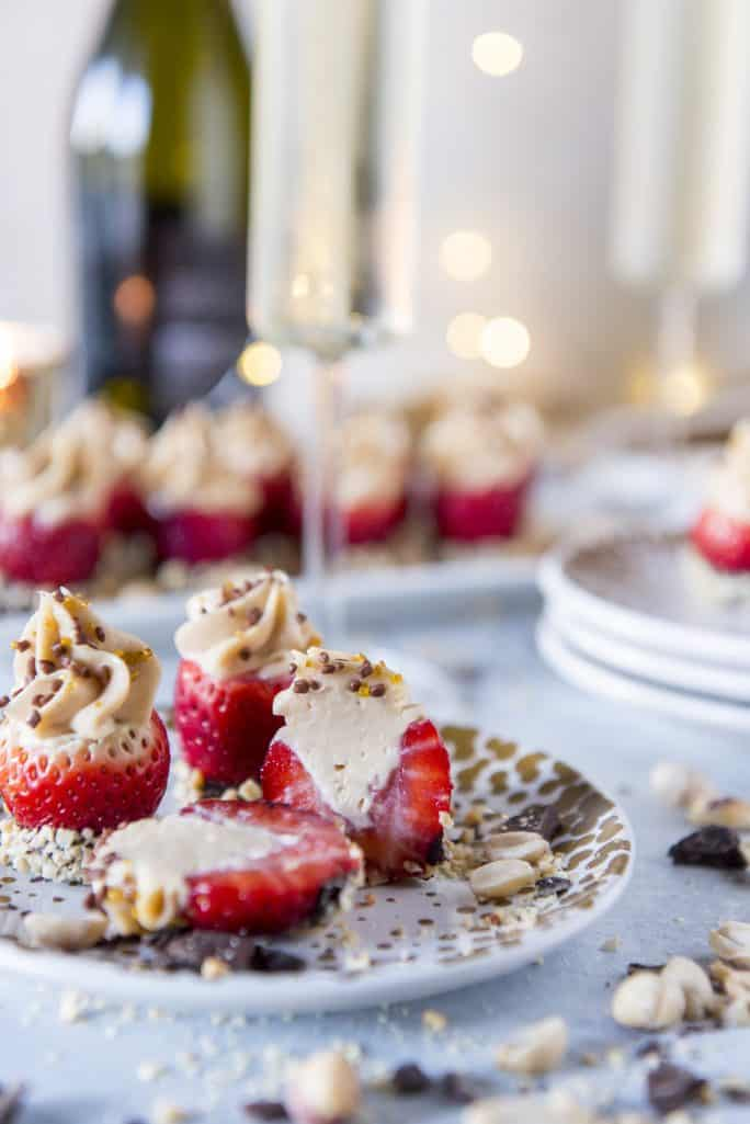 cut Peanut Butter Cheesecake Stuffed Strawberries