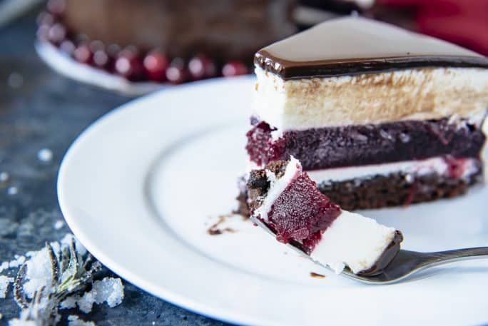 Triple Chocolate Cranberry Mousse Torte bite