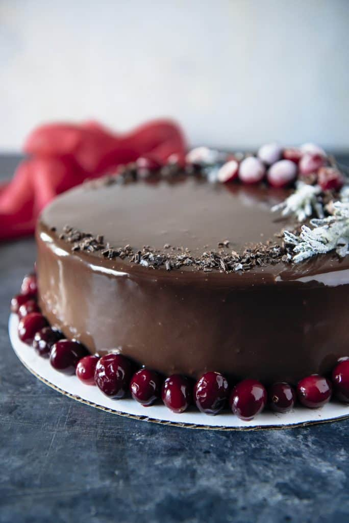 Triple Chocolate Cranberry Mousse Torte