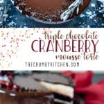 This Triple Chocolate Cranberry Mousse Torte is a to-die-for addition to your holiday tables! Layers of milk chocolate brownie, creamy white chocolate mousse,and decadent dark chocolate mirror glaze encase a homemade cranberry jelly.