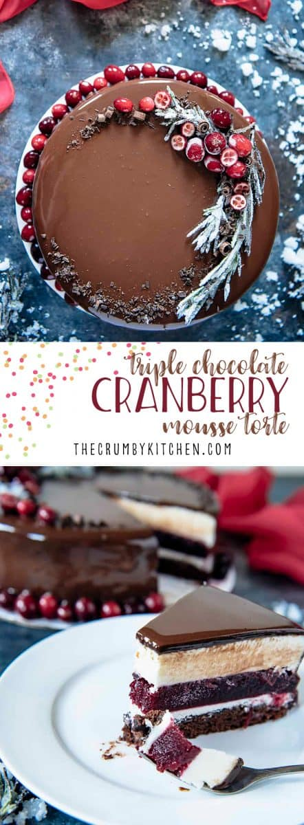 This Triple Chocolate Cranberry Mousse Torte is a to-die-for addition to your holiday tables! Layers of milk chocolate brownie, creamy white chocolate mousse, and decadent dark chocolate mirror glaze encase a homemade cranberry jelly.