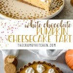 Present that traditional pumpkin pie in a more festive way with thisWhite Chocolate Pumpkin Cheesecake Tart! Easy white chocolate-infused pumpkin cheesecake, baked in a gingersnap crust, is sure to be your new favorite holiday dessert!