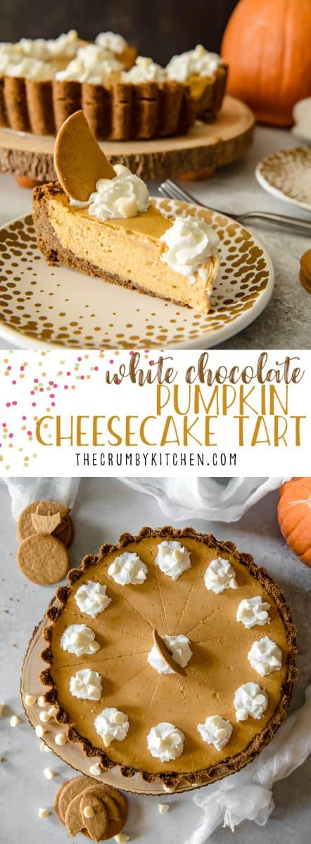 Present that traditional pumpkin pie in a more festive way with this White Chocolate Pumpkin Cheesecake Tart! Easy white chocolate-infused pumpkin cheesecake, baked in a gingersnap crust, is sure to be your new favorite holiday dessert!