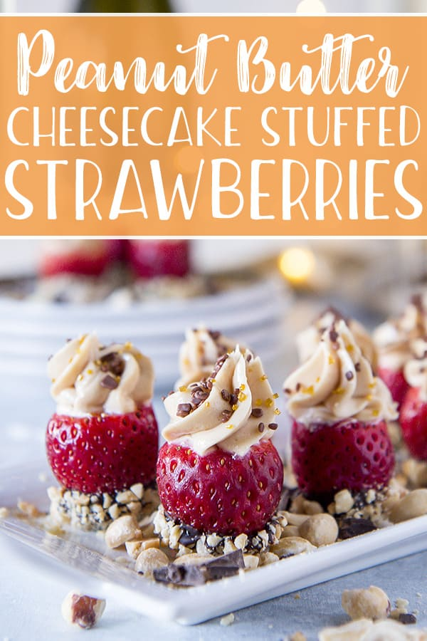These quick and easy Peanut Butter Cheesecake Stuffed Strawberries will be a hit at any shindig! Fresh strawberries stuffed with a peanut butter cream cheese filling, then dressed up for the party with some crushed peanuts and fun sprinkles.