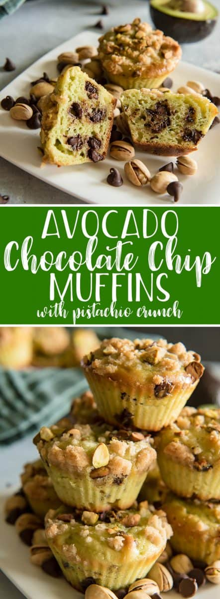 These moist Avocado Chocolate Chip Muffins with Pistachio Crunch are a delicious, healthier addition to any morning! Replacing the butter with avocado reduces calories, fat, and cholesterol in each bite, and the pistachios give them a lovely crunch that will make you look forward to breakfast again!