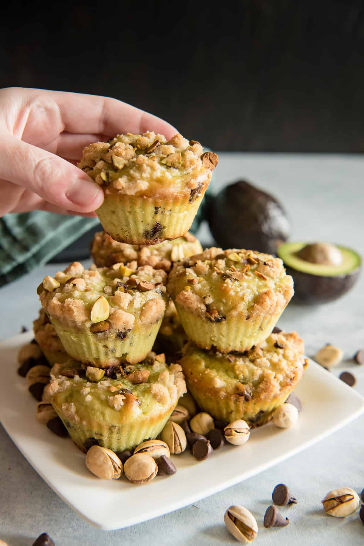 Avocado Chocolate Chip Muffins with Pistachio Crunch