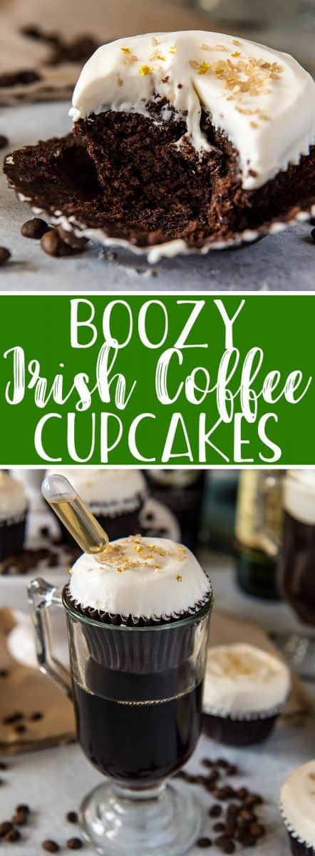 It doesn't have to be a holiday to enjoy one of these Irish Coffee Cupcakes! Just like the classic coffee cocktail, these chocolate & coffee cupcakes are kissed with whiskey, and the fluffy whipped cream pillow on top of each one is infused with Bailey's Irish Cream! Sláinte!