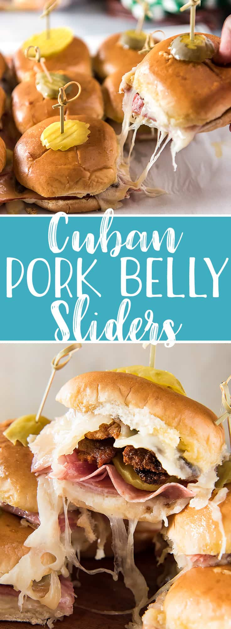 Your whole crowd is going to love these Cuban Pork Belly Sliders! The classic flavor of a Cuban sandwich in a convenient, fun little slider, then elevated with crispy bites of fried pork belly and a healthy dose of garlic butter.