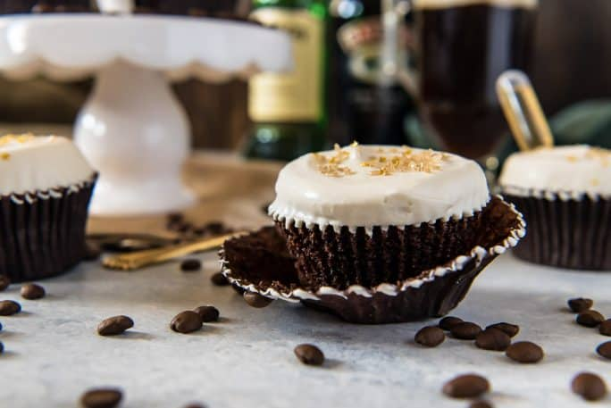 Irish Coffee Cupcakes with Bailey's Whipped Cream