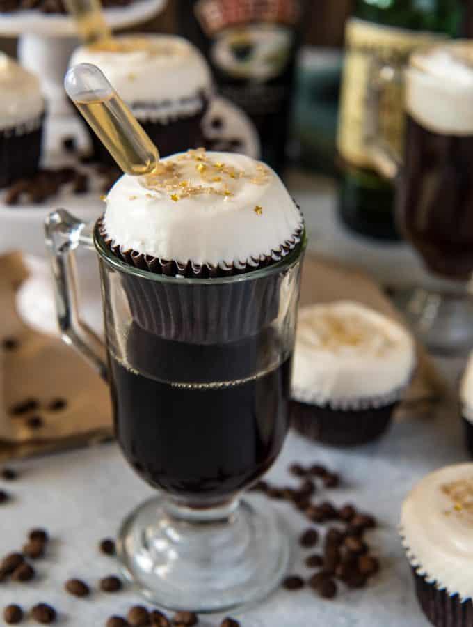 Irish Coffee Cupcakes with Bailey's Whipped Cream