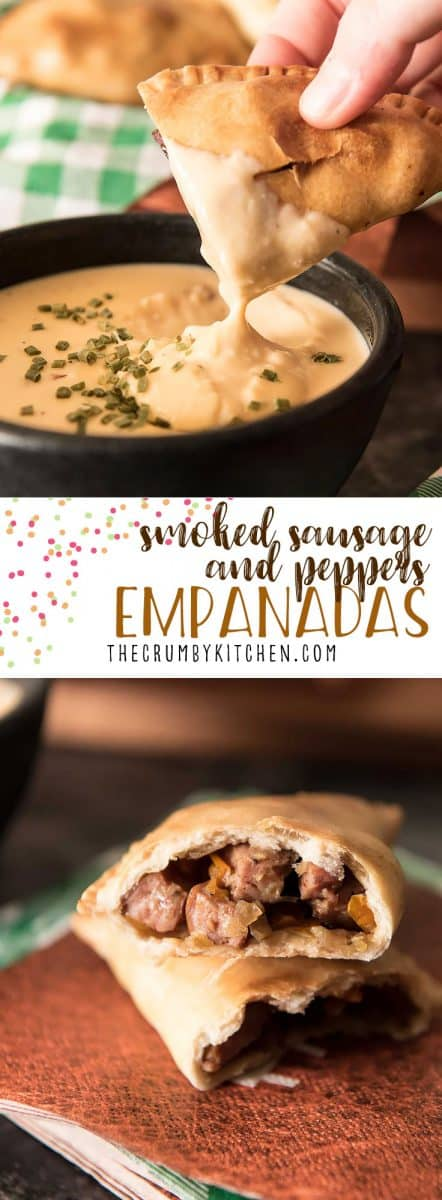 A fabulous street food mash-up served with a gooey beer cheese dip! Delicious smoked sausage, peppers, and onions, stuffed in pastry discs make these Smoked Sausage and Peppers Empanadas perfectly portable and mess free!