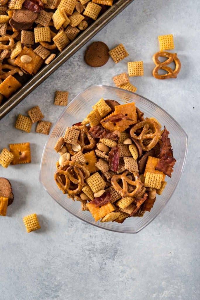 Smoky Bourbon Bacon Chex Mix recipe