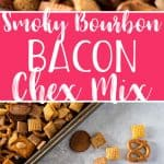 Bacon makes everything better, so don't settle for the plain old traditional recipe - thisSmoky Bourbon Bacon Chex Mix recipe is the salty, crunchy, boozy version of the famous snack that you didn't know you were craving!
