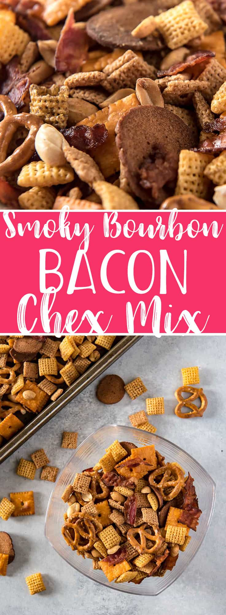 Bacon makes everything better, so don't settle for the plain old traditional recipe - thisSmoky Bourbon Bacon Chex Mix is the salty, crunchy, boozy version of the famous snack that you didn't know you were craving!