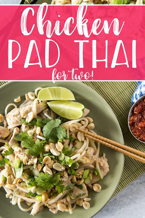 This Weekday Chicken Pad Thai for Two is a scaled-down version of the popular street food common in Thailand. Chewy noodles, crunchy peanuts, and a tangy-spicy sauce accompany juicy stir-fried chicken breast for a meal that's ready to enjoy in 30 minutes!