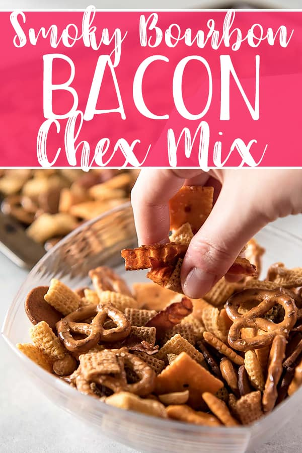 Bacon makes everything better, so don't settle for the plain old traditional recipe - this Smoky Bourbon Bacon Chex Mix recipe is the salty, crunchy, boozy version of the famous snack that you didn't know you were craving!