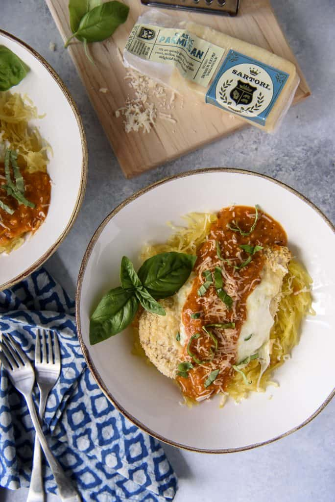Baked Chicken Parmesan with Spaghetti Squash