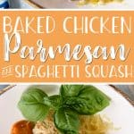 This moist, crispy, filling Baked Chicken Parmesan may be a lightened up Italian classic - but it doesn't skimp on flavor! Serving it over steamed spaghetti squash instead of pasta also cuts those heavy carb-laden calories down to nearly nothing.
