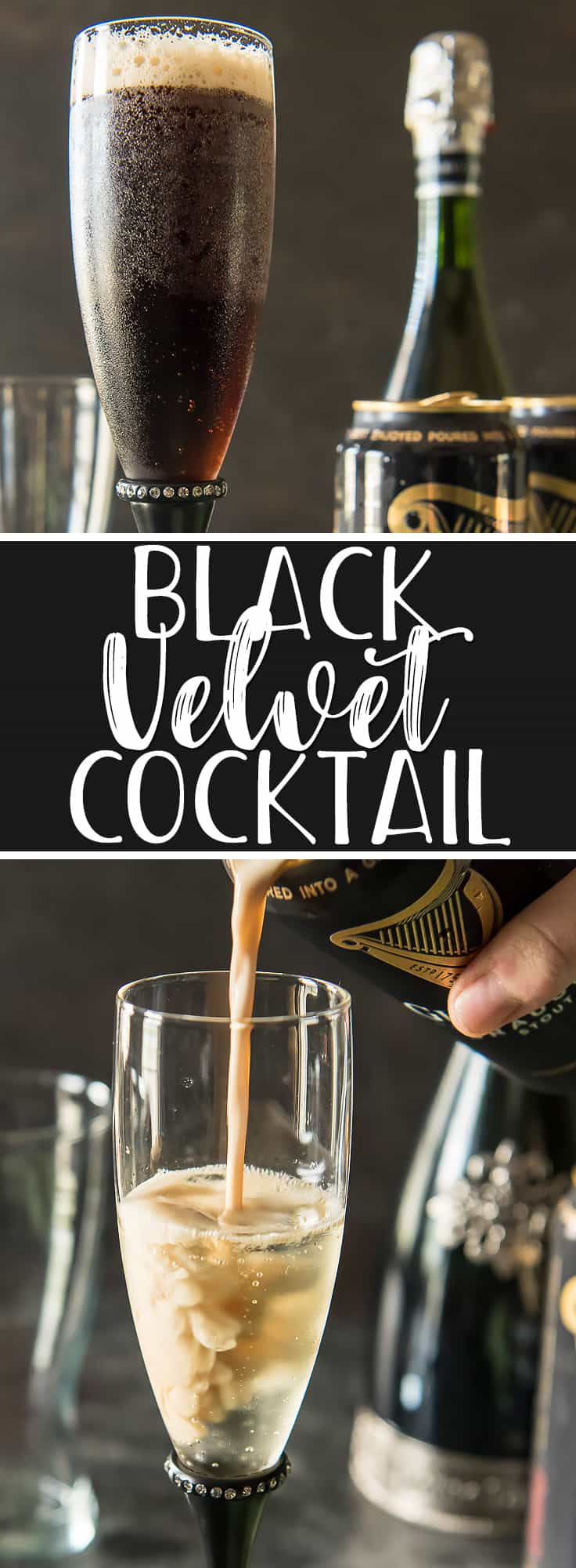 The Black Velvet cocktail recipe is a classic Irish sipper that you'll be sipping with your pinky up. This delightful even blend of Guinness stout beer and sparkling champagne mellows out the flavors of both ingredients, making beer and bubbly haters into beer and bubbly lovers!