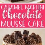 This Caramel Martini Chocolate Mousse Cake is a chocolate lover's dream come true! Two supremely rich layers of dense cake are filled with fluffy chocolate mousse and a layer of thick caramel. More chocolate and caramel adorn the top of this showstopper, along with caramel martini-filled edible shot glasses - perfect for a sweet toast.