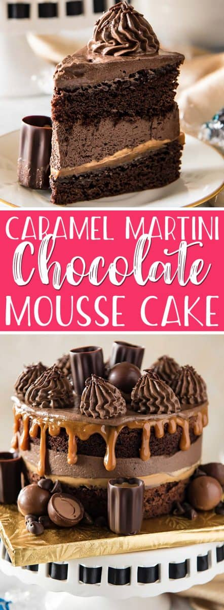 This Caramel Martini Chocolate Mousse Cake is a chocolate lover'sdream come true! Two supremely rich layers of dense cake are filled with fluffy chocolate mousse and a layer of thick caramel. More chocolate and caramel adorn the top of this showstopper, along with caramel martini-filled edible shot glasses - perfect for a sweet toast.
