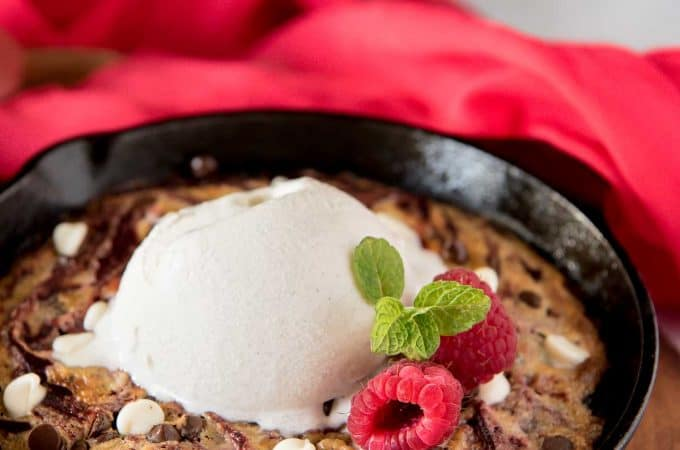 Red Velvet Swirl Skillet Brownies for Two