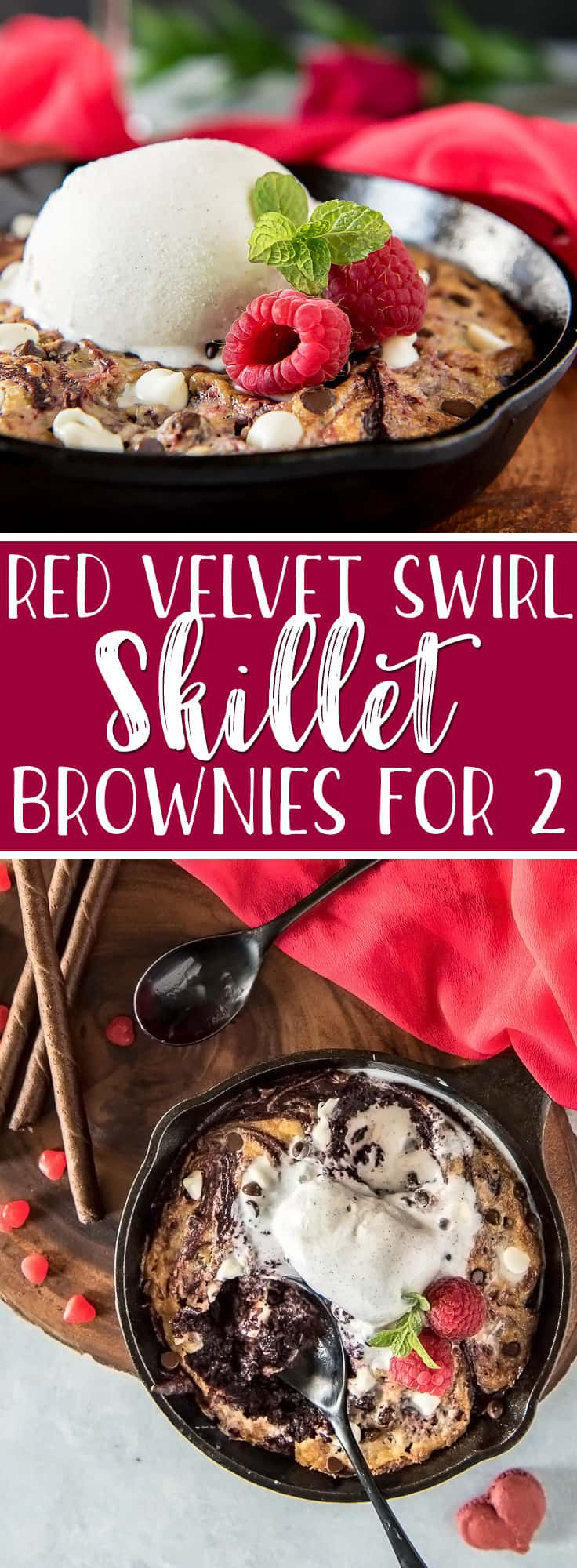 A perfectly romantic treat in a perfectly sized pan, these Red Velvet Swirl Skillet Brownies for Two should be on every special occasion menu! No box mix is required to make perfectly gooey red velvet brownies swirled with a sweetened mascarpone cheese, then studded with dark and white chocolate chips.