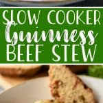 This Slow Cooker Irish Guinness Beef Stew is the perfect meal to celebrate St. Patrick's Day, but it's just as delightful any day of the year! Juicy beef, Guinness stout, and hearty root vegetables come together in a fabulous set-it-and-forget-it stew that's great on its own, but even better served with Irish soda bread.