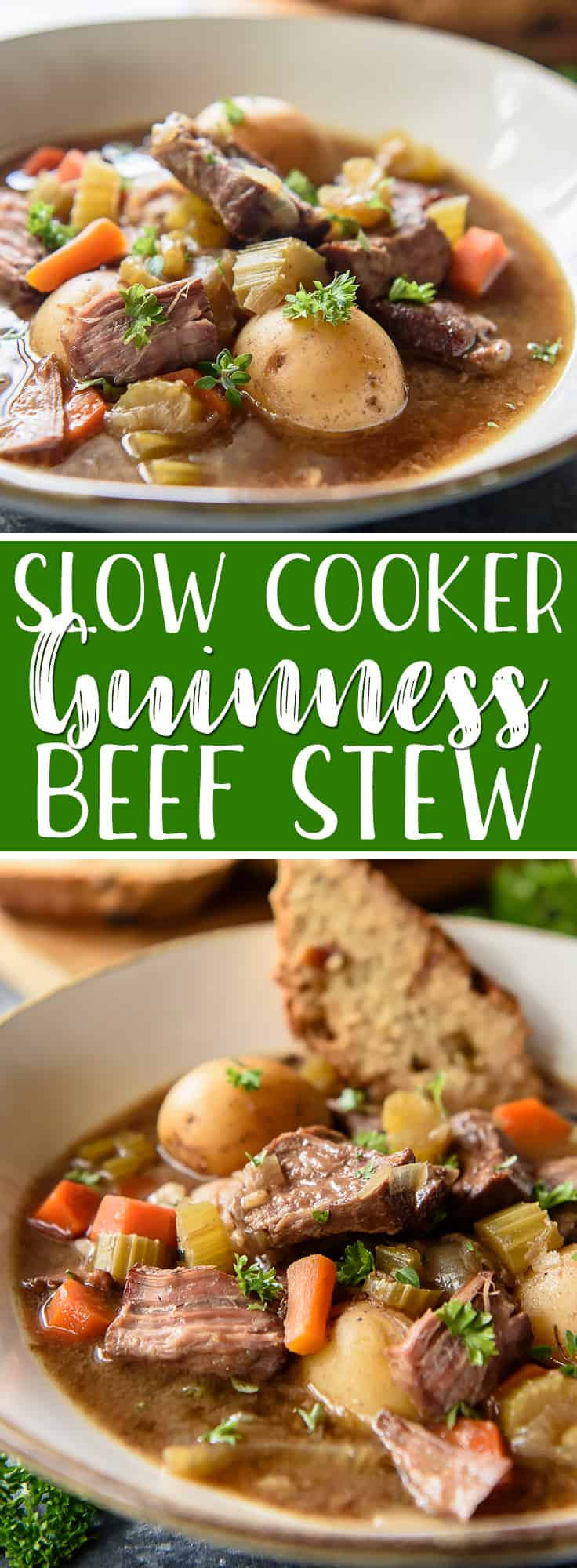 This Slow Cooker Irish Guinness Beef Stew is the perfectmeal tocelebrate St. Patrick's Day, but it's just as delightful any day of the year! Juicy beef, Guinness stout, and hearty root vegetables come together in a fabulous set-it-and-forget-it stew that's great on its own, but even better served with Irish soda bread.
