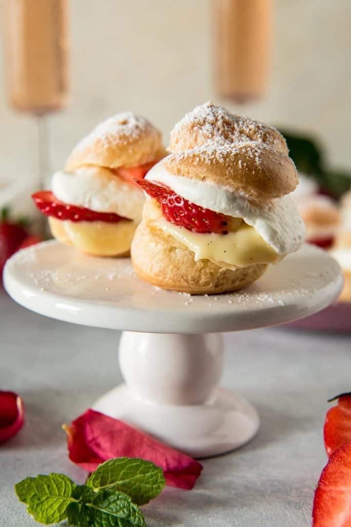 Strawberry Rosé Profiteroles (Mini Cream Puffs)