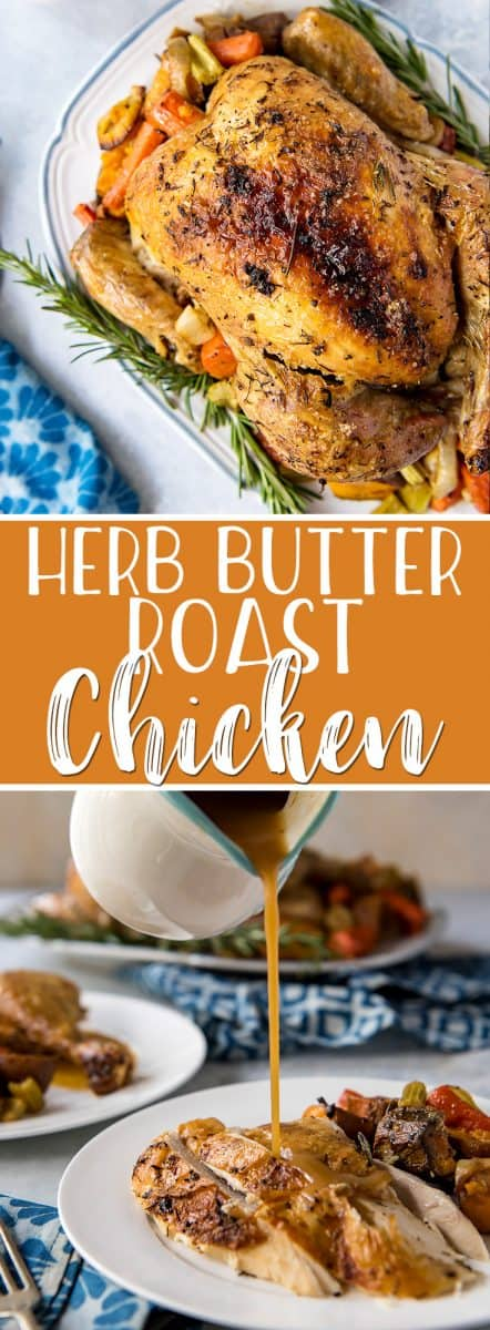 Simple and classic, this may very well be the best oven roasted chicken you've ever had! Stuffed with garlic, lemon, and rosemary, and roasted with root veggies, this heavily seasoned roast chicken recipe has a secret ingredient that keeps the inside juicy, the outside crispy, and the pan gravy extra delicious!