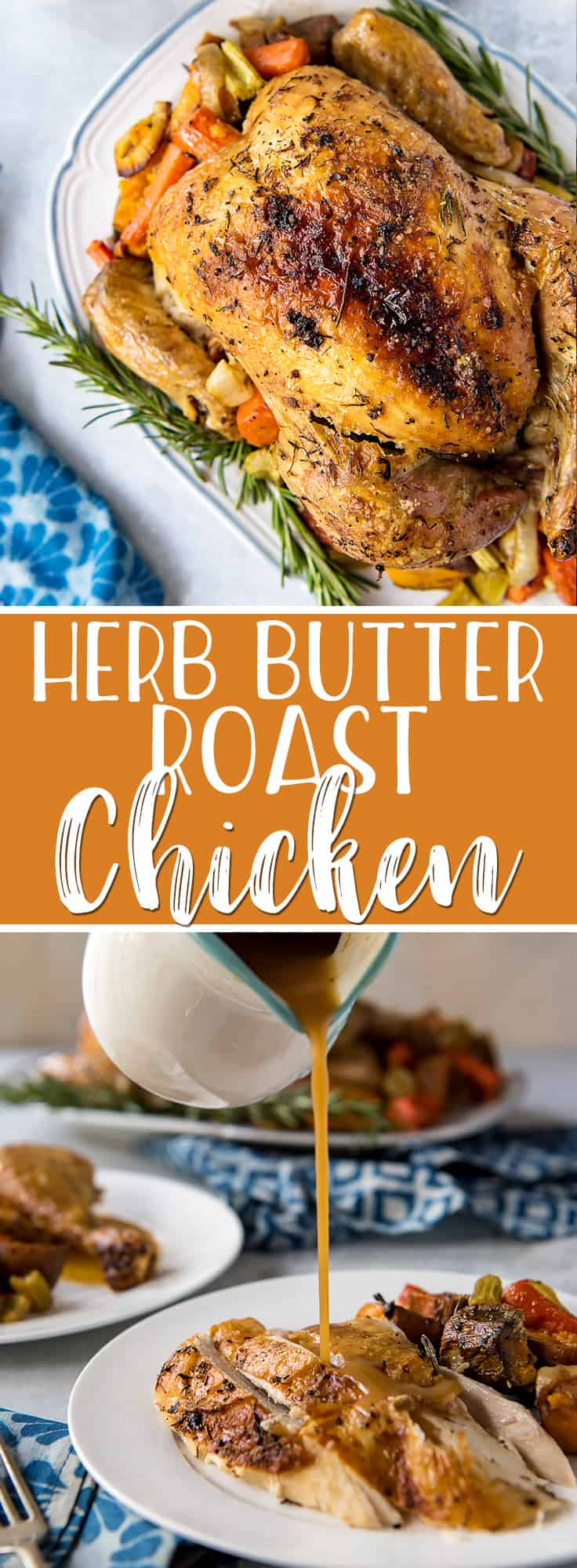Simple and classic, this may very well be the best oven roasted chicken you've ever had! Stuffed with garlic, lemon, and rosemary, and roasted with root veggies, this heavily seasoned roast chicken recipe has a secret ingredient that keeps the inside juicy, the outsidecrispy, and the pan gravy extra delicious!