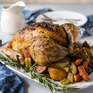 Juicy Herb Butter Oven Roasted Chicken with Pan Gravy