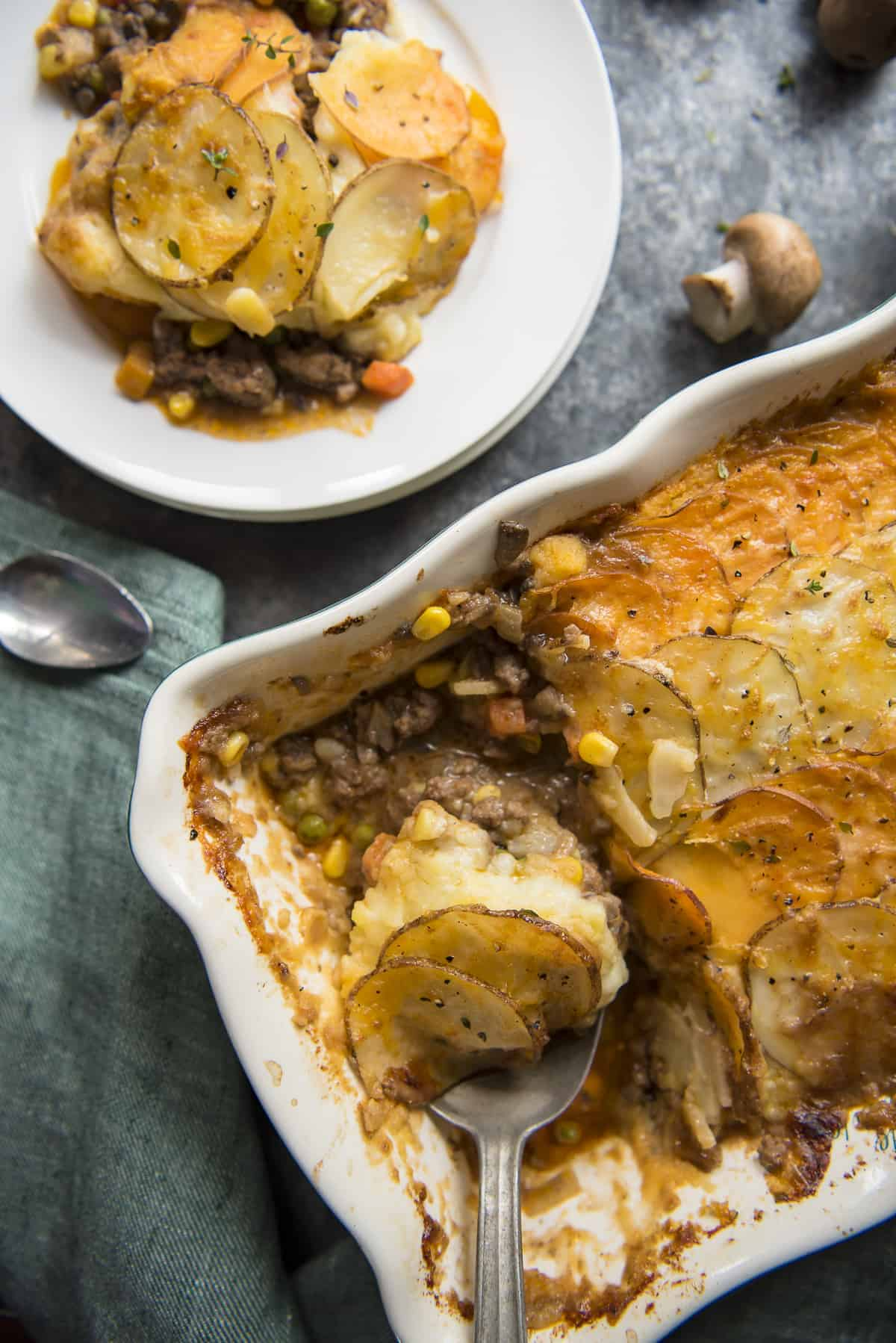 Scalloped Potato Beef and Mushroom Shepherd's Pie