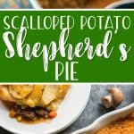 Irish comfort food at it's finest, this Scalloped Potato Beef and Mushroom Shepherd's Pie puts a heartier spin on the classic. Ground beef, onions, and diced veggies are mixed with chopped mushrooms, then topped with mashed potato, then another layer of scalloped potatoes.