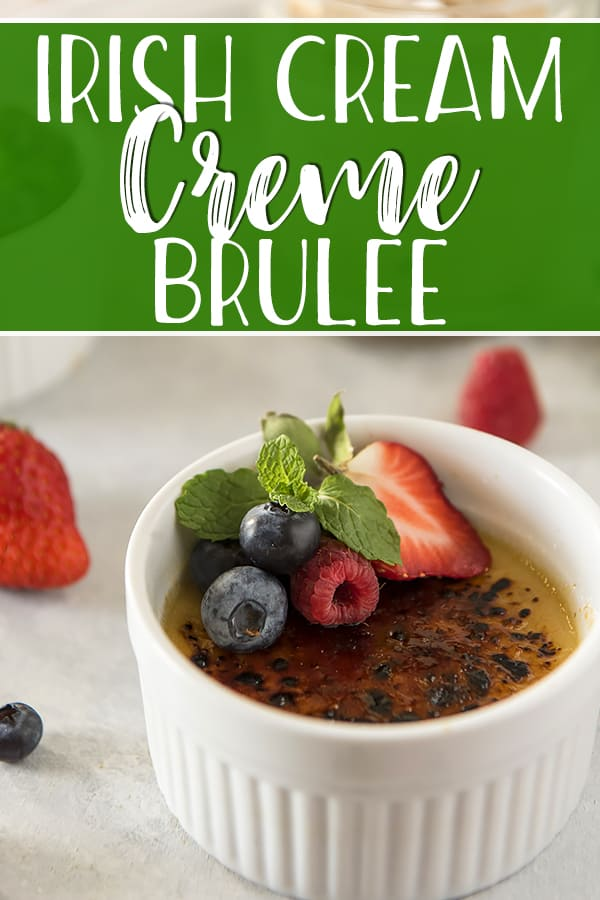Using only five simple ingredients, this elegant Irish Cream Creme Brulee can be on your table tonight! While the idea of caramelizing the sugar on top of this smooth custard with a blowtorch is entertaining, these lovely little desserts can be finished just as easily using your oven broiler.